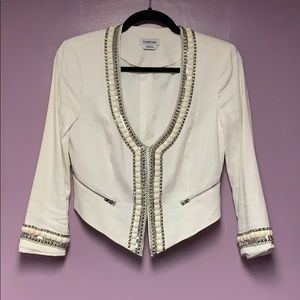 Embellished white blazer